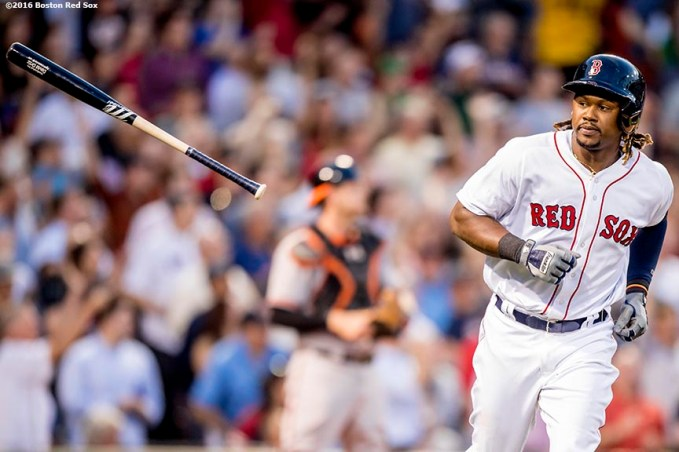 BOSTON, MA - JUNE 15: Hanley Ramirez #13 of the Boston Red Sox flips his bat after hitting a three run home run during the third inning of a game against the Baltimore Orioles on June 15, 2016 at Fenway Park in Boston, Massachusetts. (Photo by Billie Weiss/Boston Red Sox/Getty Images) *** Local Caption *** Hanley Ramirez