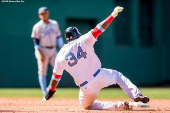 BOSTON, MA - JUNE 19: David Ortiz #34 of the Boston Red Sox slides as he steals second base during the eighth inning of a game against the Seattle Mariners on June19, 2016 at Fenway Park in Boston, Massachusetts. (Photo by Billie Weiss/Boston Red Sox/Getty Images) *** Local Caption *** David Ortiz