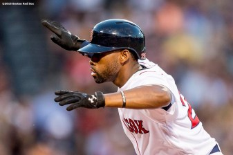 BOSTON, MA - JUNE 22: Jackie Bradley Jr. #25 of the Boston Red Sox reacts after hitting an RBI single during the third inning of a game against the Chicago White Sox on June 22, 2016 at Fenway Park in Boston, Massachusetts. (Photo by Billie Weiss/Boston Red Sox/Getty Images) *** Local Caption *** Jackie Bradley Jr.