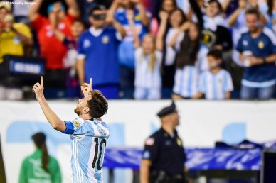 FOXBORO, MASSACHUSETTS - JUNE 18: Lionel Messi of Argentina reacts after scoring a goal during a Quarterfinal match between Argentina and Venezuela at Gillette Stadium as part of Copa America Centenario US 2016 on June 18, 2016 in Foxboro, Massachusetts, US. (Photo by Billie Weiss/LatinContent/Getty Images)