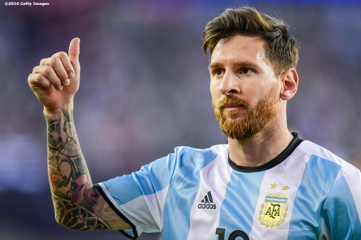 FOXBORO, MASSACHUSETTS - JUNE 18: Lionel Messi reacts during a Quarterfinal match between Argentina and Venezuela at Gillette Stadium as part of Copa America Centenario US 2016 on June 18, 2016 in Foxboro, Massachusetts, US. (Photo by Billie Weiss/LatinContent/Getty Images)