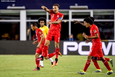 FOXBORO, MASSACHUSETTS - JUNE 12: Paolo Guerrero of Peru reacts with teammates after a goal was scored during a group B match between Brazil and Peru at Gillette Stadium as part of Copa America Centenario US 2016 on June 12, 2016 in Foxboro, Massachusetts, US. (Photo by Billie Weiss/LatinContent/Getty Images)