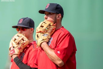 BOSTON, MA - JULY 1: Brock Holt #12 and Travis Shaw #47 of the Boston Red Sox react before a game against the Los Angeles Angels of Anaheim on July1, 2016 at Fenway Park in Boston, Massachusetts. (Photo by Billie Weiss/Boston Red Sox/Getty Images) *** Local Caption *** Travis Shaw; Brock Holt