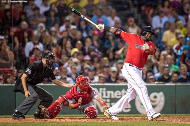 BOSTON, MA - JULY 1: David Ortiz #34 of the Boston Red Sox hits a solo home run during the fifth inning of a game against the Los Angeles Angels of Anaheim on July1, 2016 at Fenway Park in Boston, Massachusetts. It was home run number 522 of his career, moving him into sole possession of 19th place on the all-time home run list. (Photo by Billie Weiss/Boston Red Sox/Getty Images) *** Local Caption *** David Ortiz