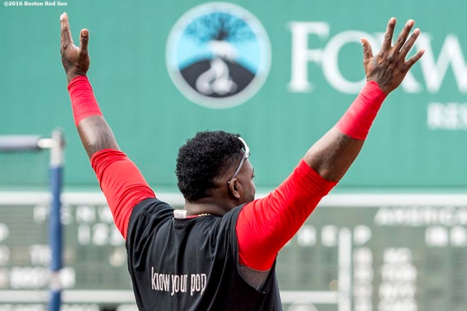 BOSTON, MA - JULY 8: David Ortiz #34 of the Boston Red Sox reacts before game against the Tampa Bay Rays on July 8, 2016 at Fenway Park in Boston, Massachusetts. (Photo by Billie Weiss/Boston Red Sox/Getty Images) *** Local Caption *** David Ortiz