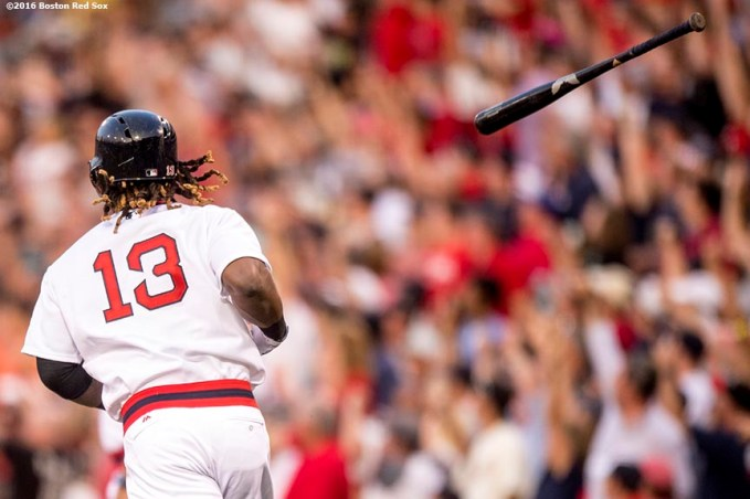 BOSTON, MA - JULY 20: Hanley Ramirez #13 of the Boston Red Sox tosses his bat after hitting a two run home run during the second inning of a game against the San Francisco Giants on July 20, 2016 at Fenway Park in Boston, Massachusetts. (Photo by Billie Weiss/Boston Red Sox/Getty Images) *** Local Caption *** Hanley Ramirez