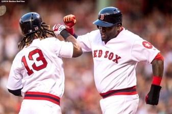 BOSTON, MA - JULY 20: Hanley Ramirez #13 of the Boston Red Sox reacts with David Ortiz #34 after hitting a two run home run during the second inning of a game against the San Francisco Giants on July 20, 2016 at Fenway Park in Boston, Massachusetts. (Photo by Billie Weiss/Boston Red Sox/Getty Images) *** Local Caption *** Hanley Ramirez; David Ortiz