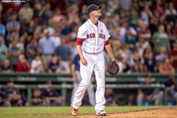 BOSTON, MA - JULY 21: Clay Buchholz #11 of the Boston Red Sox reacts during the ninth inning of a game against the Minnesota Twins on July 21, 2016 at Fenway Park in Boston, Massachusetts. (Photo by Billie Weiss/Boston Red Sox/Getty Images) *** Local Caption *** Clay Buchholz