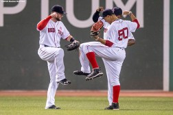 BOSTON, MA - JULY 21: Bryce Brentz #64, Mookie Betts #50, and Jackie Bradley Jr. #25 of the Boston Red Sox celebrate a victory against the Minnesota Twins on July 21, 2016 at Fenway Park in Boston, Massachusetts. (Photo by Billie Weiss/Boston Red Sox/Getty Images) *** Local Caption *** Bryce Brentz; Mookie Betts; Jackie Bradley Jr.