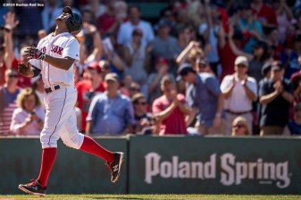 BOSTON, MA - JULY 27: Xander Bogaerts #2 of the Boston Red Sox reacts after hitting a home run during the seventh inning of a game against the Detroit Tigers on July 27, 2016 at Fenway Park in Boston, Massachusetts. (Photo by Billie Weiss/Boston Red Sox/Getty Images) *** Local Caption *** Xander Bogaerts