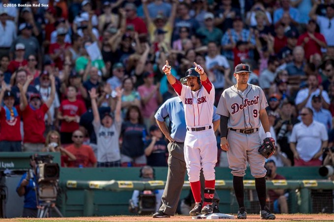 BOSTON, MA - JULY 27: Mookie Betts #50 of the Boston Red Sox reacts after hitting a game tying triple during the eighth inning of a game against the Detroit Tigers on July 27, 2016 at Fenway Park in Boston, Massachusetts. (Photo by Billie Weiss/Boston Red Sox/Getty Images) *** Local Caption *** Mookie Betts