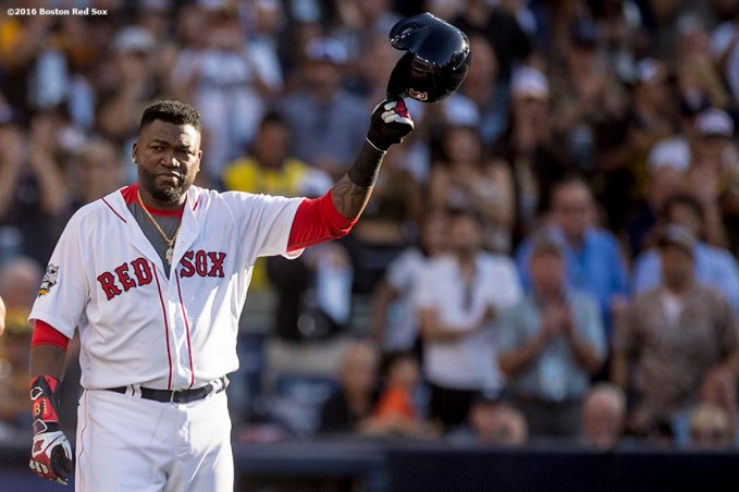 July 12, 2016, San Diego, CA: Boston Red Sox designated hitter David Ortiz gives a curtain call as he exits the game during the fourth inning of the 2016 Major League Baseball All-Star Game at PETCO Park in San Diego, California Tuesday, July 12, 2016. It was the tenth and final All-Star game of his career. (Photos by Billie Weiss/Boston Red Sox)
