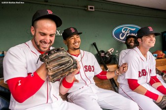 BOSTON, MA - AUGUST 9: Travis Shaw #47, Mookie Betts #50, Jackie Bradley Jr. #25, and Andrew Benintendi #40 of the Boston Red Sox react in the dugout before a game against the New York Yankees on August 9, 2016 at Fenway Park in Boston, Massachusetts. (Photo by Billie Weiss/Boston Red Sox/Getty Images) *** Local Caption *** Travis Shaw; Mookie Betts; Andrew Benintendi; Jackie Bradley Jr.