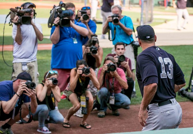 BOSTON, MA - AUGUST 11: Alex Rodriguez #13 of the New York Yankees emerges from the dugout before a game against the Boston Red Sox on August 11, 2016 at Fenway Park in Boston, Massachusetts.(Photo by Billie Weiss/Boston Red Sox/Getty Images) *** Local Caption *** Alex Rodriguez