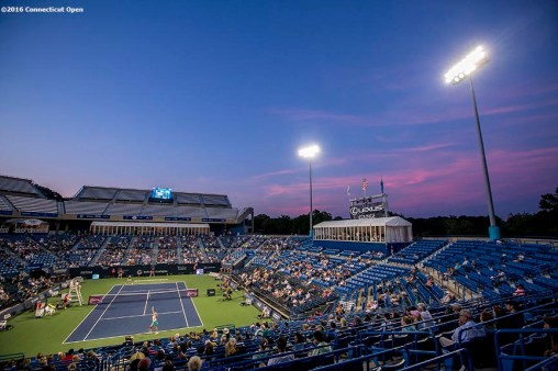 August 24, 2016, New Haven, Connecticut: The stadium is shown during a match between Eugenie Bouchard of Canada and Petra Kvitova on Day 6 of the 2016 Connecticut Open at the Yale University Tennis Center on Wednesday, August 24, 2016 in New Haven, Connecticut. (Photo by Billie Weiss/Connecticut Open)