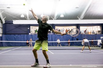August 25, 2016, New Haven, Connecticut: John McEnroe participates in a pro-am tournament during the Men's Legends Event on Day 7 of the 2016 Connecticut Open at the Yale University Tennis Center on Thursday, August 25, 2016 in New Haven, Connecticut. (Photo by Billie Weiss/Connecticut Open)
