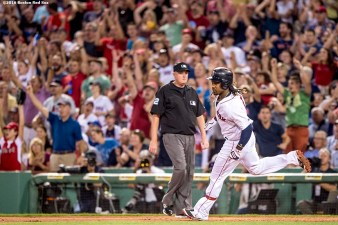 BOSTON, MA - AUGUST 27: Hanley Ramirez #13 of the Boston Red Sox rounds first base after hitting a solo home run during the fifth inning of a game against the Kansas City Royals on August 27, 2016 at Fenway Park in Boston, Massachusetts. (Photo by Billie Weiss/Boston Red Sox/Getty Images) *** Local Caption *** Hanley Ramirez
