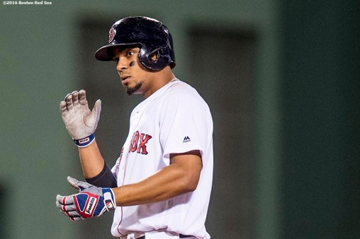 BOSTON, MA - AUGUST 30: Xander Bogaerts #2 of the Boston Red Sox reacts after hitting a double during the sixth inning of a game against the Tampa Bay Rays on August 30, 2016 at Fenway Park in Boston, Massachusetts. (Photo by Billie Weiss/Boston Red Sox/Getty Images) *** Local Caption *** Xander Bogaerts