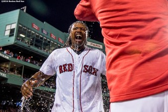 BOSTON, MA - SEPTEMBER 15: Hanley Ramirez #13 of the Boston Red Sox is given a Powerade shower after hitting a walk off three run home run during the ninth inning of a game against the New York Yankees on September 15, 2016 at Fenway Park in Boston, Massachusetts. (Photo by Billie Weiss/Boston Red Sox/Getty Images) *** Local Caption *** Hanley Ramirez