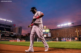 BALTIMORE, MD - SEPTEMBER 19: David Ortiz #34 of the Boston Red Sox walks back to the dugout during the first inning of a game against the Baltimore Orioles on September 19, 2016 at Oriole Park at Camden Yards in Baltimore, Maryland. (Photo by Billie Weiss/Boston Red Sox/Getty Images) *** Local Caption *** David Ortiz