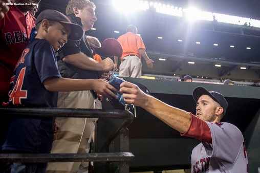 BALTIMORE, MD - SEPTEMBER 19: Rick Porcello #22 of the Boston Red Sox signs autographs after pitching a complete game against the Baltimore Orioles on September 19, 2016 at Oriole Park at Camden Yards in Baltimore, Maryland. (Photo by Billie Weiss/Boston Red Sox/Getty Images) *** Local Caption *** Rick Porcello