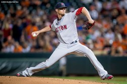 BALTIMORE, MD - SEPTEMBER 21: Clay Buchholz #11 of the Boston Red Sox delivers during the first inning of a game against the Baltimore Orioles on September 21, 2016 at Oriole Park at Camden Yards in Baltimore, Maryland. (Photo by Billie Weiss/Boston Red Sox/Getty Images) *** Local Caption *** Clay Buchholz