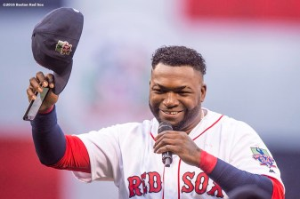 BOSTON, MA - OCTOBER 2: David Ortiz #34 of the Boston Red Sox tips his cap as he speaks during an honorary retirement ceremony in his final regular season game at Fenway Park against the Toronto Blue Jays on October 2, 2016 at Fenway Park in Boston, Massachusetts. (Photo by Billie Weiss/Boston Red Sox/Getty Images) *** Local Caption *** David Ortiz