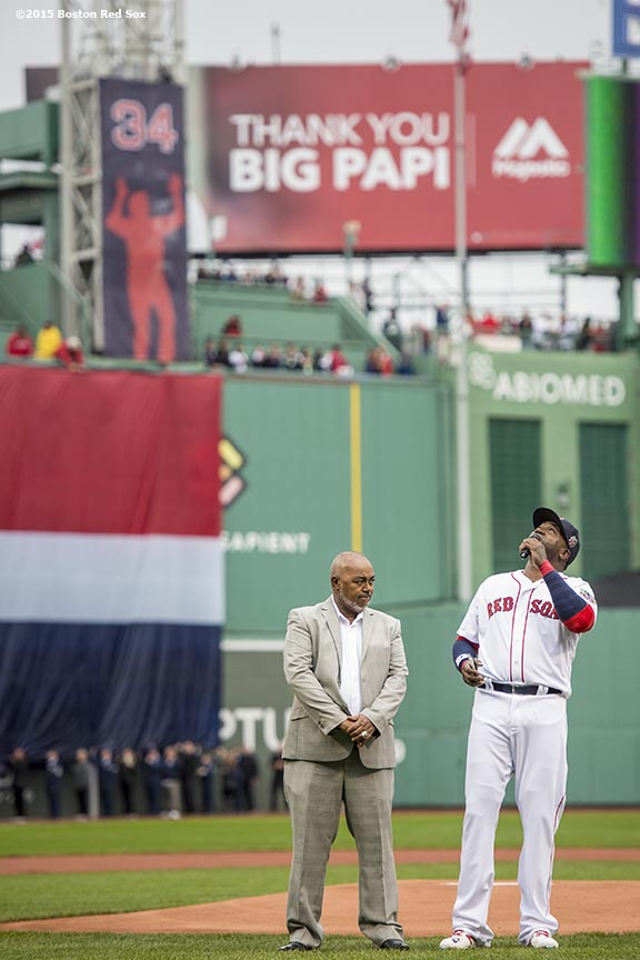 BOSTON, MA - OCTOBER 2: David Ortiz #34 of the Boston Red Sox reacts as he speaks alongside his father, Leo Ortiz, during an honorary retirement ceremony in his final regular season game at Fenway Park against the Toronto Blue Jays on October 2, 2016 at Fenway Park in Boston, Massachusetts. (Photo by Billie Weiss/Boston Red Sox/Getty Images) *** Local Caption *** David Ortiz; Leo Ortiz