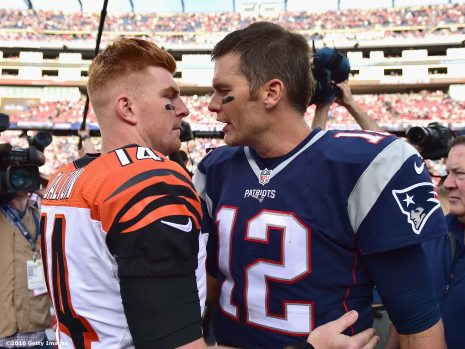 FOXBORO, MA - OCTOBER 16: Tom Brady #12 of the New England Patriots reacts with Andy Dalton #14 of the Cincinnati Bengals following a game against the Cincinnati Bengals at Gillette Stadium on October 16, 2016 in Foxboro, Massachusetts. (Photo by Billie Weiss/Getty Images) *** Local Caption *** Andy Dalton; Tom Brady