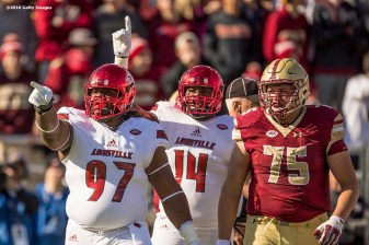 CHESTNUT HILL, MA - NOVEMBER 05: DeAngelo Brown #97 of Louisville reacts after making a tackle during the first quarter of a game against Boston College at Alumni Stadium on November 5, 2016 in Chestnut Hill, Massachusetts. (Photo by Billie Weiss/Getty Images) *** Local Caption *** DeAngelo Brown