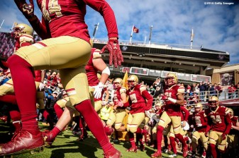 CHESTNUT HILL, MA - NOVEMBER 05: Members of Boston College run onto the field before a game against Louisville at Alumni Stadium on November 5, 2016 in Chestnut Hill, Massachusetts. (Photo by Billie Weiss/Getty Images) *** Local Caption ***