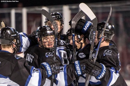 BOSTON, MA - JANUARY 05: Alexey Solovyev #24 of Bentley University reacts with teammates after scoring a goal against Army during a Frozen Fenway game at Fenway Park on January 5, 2017 in Boston, Massachusetts. (Photo by Billie Weiss/Boston Red Sox/Getty Images) *** Local Caption *** Alexey Solovyev