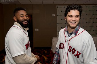 January 20, 2017, Ledyard, CT: Boston Red Sox outfielders Jackie Bradley Jr. and Andrew Benintendi react backstage at the sixth annual NESN Town Hall during during the 2017 Red Sox Winter Weekend at Foxwoods Resort & Casino in Ledyard, Connecticut Friday, January 20, 2017. (Photo by Billie Weiss/Boston Red Sox)