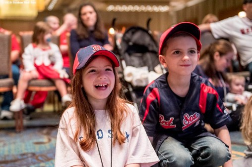 January 21, 2017, Ledyard, CT: Young fans react as they watch a Wally's Making Books Come Alive performance during the 2017 Red Sox Winter Weekend at Foxwoods Resort & Casino in Ledyard, Connecticut Saturday, January 21, 2017. (Photo by Billie Weiss/Boston Red Sox)