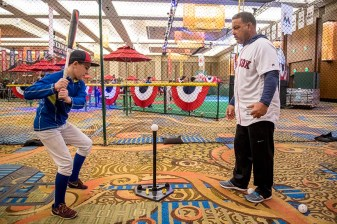 January 22, 2017, Ledyard, CT: Boston Red Sox assistant hitting coach Victor Martinez gives instructions in a kids clinic during the 2017 Red Sox Winter Weekend at Foxwoods Resort & Casino in Ledyard, Connecticut Sunday, January 22, 2017. (Photo by Billie Weiss/Boston Red Sox)