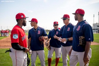 FT. MYERS, FL - FEBRUARY 18: Jackie Bradley Jr. #19, Mookie Betts #50, Andrew Benintendi #16 and Chris Young #30 of the Boston Red Sox talk during a team workout on February 18, 2017 at Fenway South in Fort Myers, Florida . (Photo by Billie Weiss/Boston Red Sox/Getty Images) *** Local Caption *** Jackie Bradley Jr.; Mookie Betts; AndrewBenintendi; Chris Young