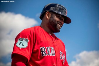 FT. MYERS, FL - FEBRUARY 19: Pablo Sandoval #48 of the Boston Red Sox reacts during a team workout on February 19, 2017 at Fenway South in Fort Myers, Florida . (Photo by Billie Weiss/Boston Red Sox/Getty Images) *** Local Caption *** Pablo Sandoval