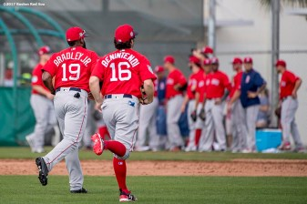 FT. MYERS, FL - FEBRUARY 19: Jackie Bradley Jr. #19 and Andrew Benintendi #16 of the Boston Red Sox run off the field during a team workout on February 19, 2017 at Fenway South in Fort Myers, Florida . (Photo by Billie Weiss/Boston Red Sox/Getty Images) *** Local Caption *** Jackie Bradley Jr.; Andrew Benintendi