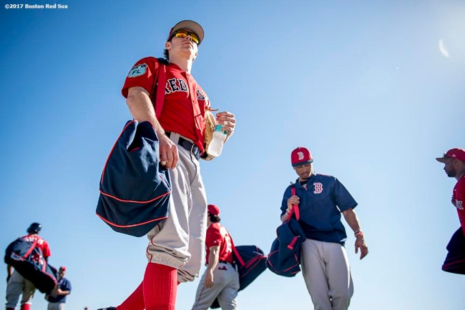 FT. MYERS, FL - FEBRUARY 20: Brock Holt #12 of the Boston Red Sox looks on during a team workout on February 20, 2017 at Fenway South in Fort Myers, Florida . (Photo by Billie Weiss/Boston Red Sox/Getty Images) *** Local Caption *** Brock Holt