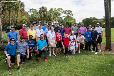 FT. MYERS, FL - FEBRUARY 21: Members of the Boston Red Sox pose for a group photograph during a Golf Tournament on February 21, 2017 at Fenway South in Fort Myers, Florida . (Photo by Billie Weiss/Boston Red Sox/Getty Images) *** Local Caption ***