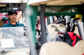 FT. MYERS, FL - FEBRUARY 21: Rick Porcello of the Boston Red Sox sits in a golf card during a Golf Tournament on February 21, 2017 at Fenway South in Fort Myers, Florida . (Photo by Billie Weiss/Boston Red Sox/Getty Images) *** Local Caption ***