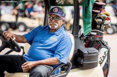 FT. MYERS, FL - FEBRUARY 21: Former Boston Red Sox pitcher Luis Tiant drives a golf cart during a Golf Tournament on February 21, 2017 at Fenway South in Fort Myers, Florida . (Photo by Billie Weiss/Boston Red Sox/Getty Images) *** Local Caption ***