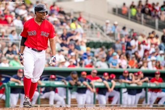 FT. MYERS, FL - FEBRUARY 23: Xander Bogaerts #2 of the Boston Red Sox reacts after being hit by a pitch during the third inning of a game against Northeastern University on February 23, 2017 at Fenway South in Fort Myers, Florida . (Photo by Billie Weiss/Boston Red Sox/Getty Images) *** Local Caption *** Xander Bogaerts