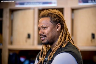 FT. MYERS, FL - FEBRUARY 26: Hanley Ramirez #13 of the Boston Red Sox looks on in the clubhouse during a team workout on February 26, 2017 at Fenway South in Fort Myers, Florida . (Photo by Billie Weiss/Boston Red Sox/Getty Images) *** Local Caption *** Hanley Ramirez