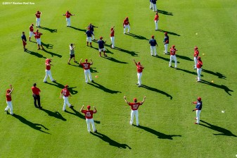 FT. MYERS, FL - FEBRUARY 27: Members of the Boston Red Sox stretch before a Spring Training game against the St. Louis Cardinals on February 27, 2017 at Fenway South in Fort Myers, Florida . (Photo by Billie Weiss/Boston Red Sox/Getty Images) *** Local Caption ***