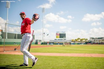 FT. MYERS, FL - FEBRUARY 27: Xander Bogaerts #2 of the Boston Red Sox reacts before a Spring Training game against the St. Louis Cardinals on February 27, 2017 at Fenway South in Fort Myers, Florida . (Photo by Billie Weiss/Boston Red Sox/Getty Images) *** Local Caption *** Xander Bogaerts
