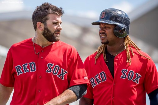 FT. MYERS, FL - FEBRUARY 27: Mitch Moreland #18 reacts with Hanley Ramirez #13 of the Boston Red Sox during the first inning of a Spring Training game against the St. Louis Cardinals on February 27, 2017 at Fenway South in Fort Myers, Florida . (Photo by Billie Weiss/Boston Red Sox/Getty Images) *** Local Caption *** Mitch Moreland