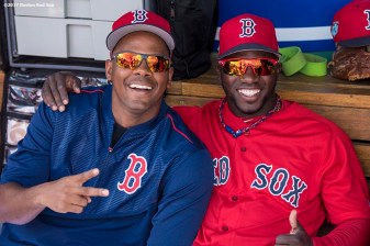 FT. MYERS, FL - FEBRUARY 27: Roenis Elias #29 and Rusney Castillo #38 of the Boston Red Sox pose for a photograph before a Spring Training game against the St. Louis Cardinals on February 27, 2017 at Fenway South in Fort Myers, Florida . (Photo by Billie Weiss/Boston Red Sox/Getty Images) *** Local Caption *** Roenis Elias; Rusney Castillo