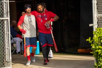 FT. MYERS, FL - FEBRUARY 28: Andrew Benintendi #16 and Pablo Sandoval #48 of the Boston Red Sox walk out of the batting cage before a Spring Training game against the New York Yankees on February 28, 2017 at Fenway South in Fort Myers, Florida . (Photo by Billie Weiss/Boston Red Sox/Getty Images) *** Local Caption *** Andrew Benintendi; Pablo Sandoval
