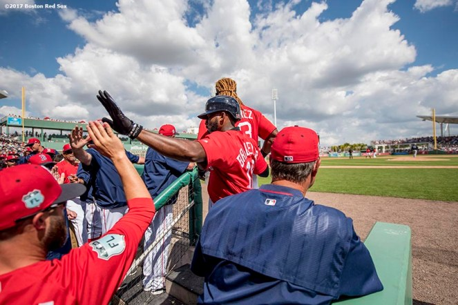 FT. MYERS, FL - FEBRUARY 28: Jackie Bradley Jr. #19 of the Boston Red Sox high fives teammates after scoring during the second inning of a Spring Training game against the New York Yankees on February 28, 2017 at Fenway South in Fort Myers, Florida . (Photo by Billie Weiss/Boston Red Sox/Getty Images) *** Local Caption *** Jackie Bradley Jr.